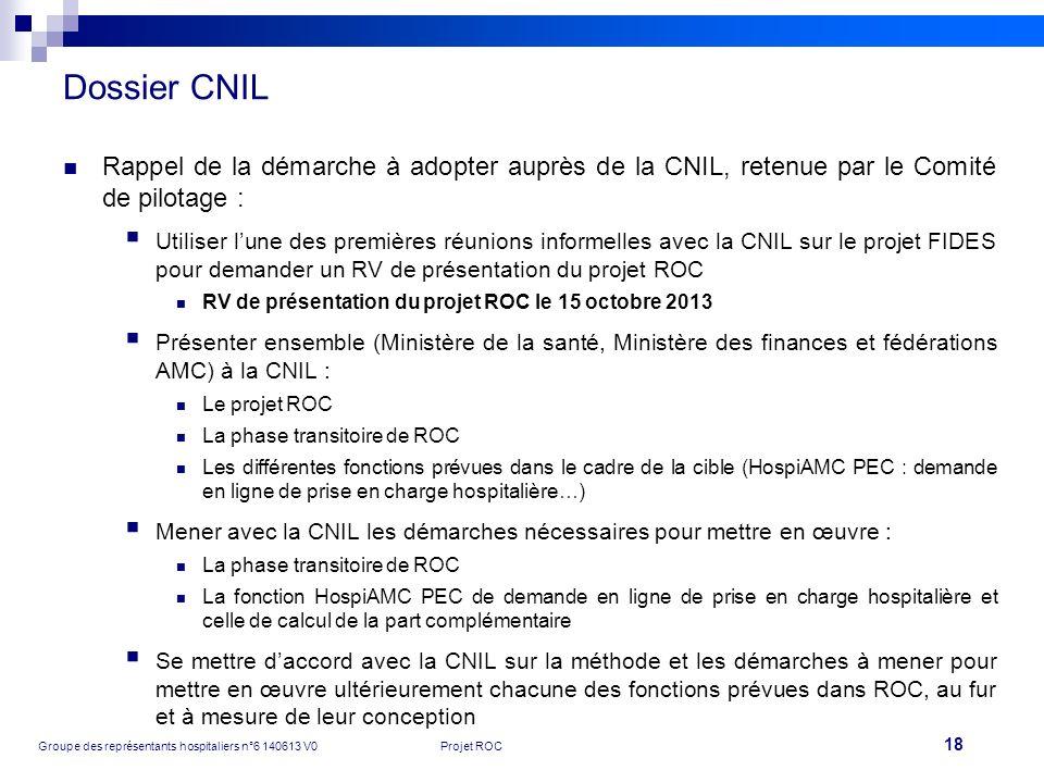 Dossier CNIL Rappel de la démarche à adopter auprès de la CNIL, retenue par le Comité de pilotage :