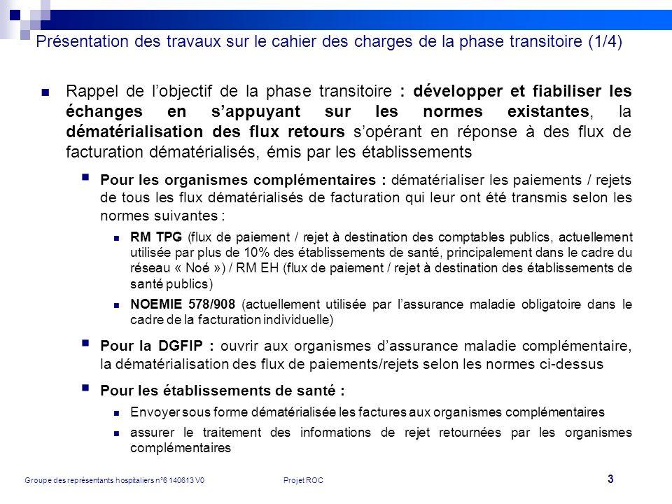 Présentation des travaux sur le cahier des charges de la phase transitoire (1/4)