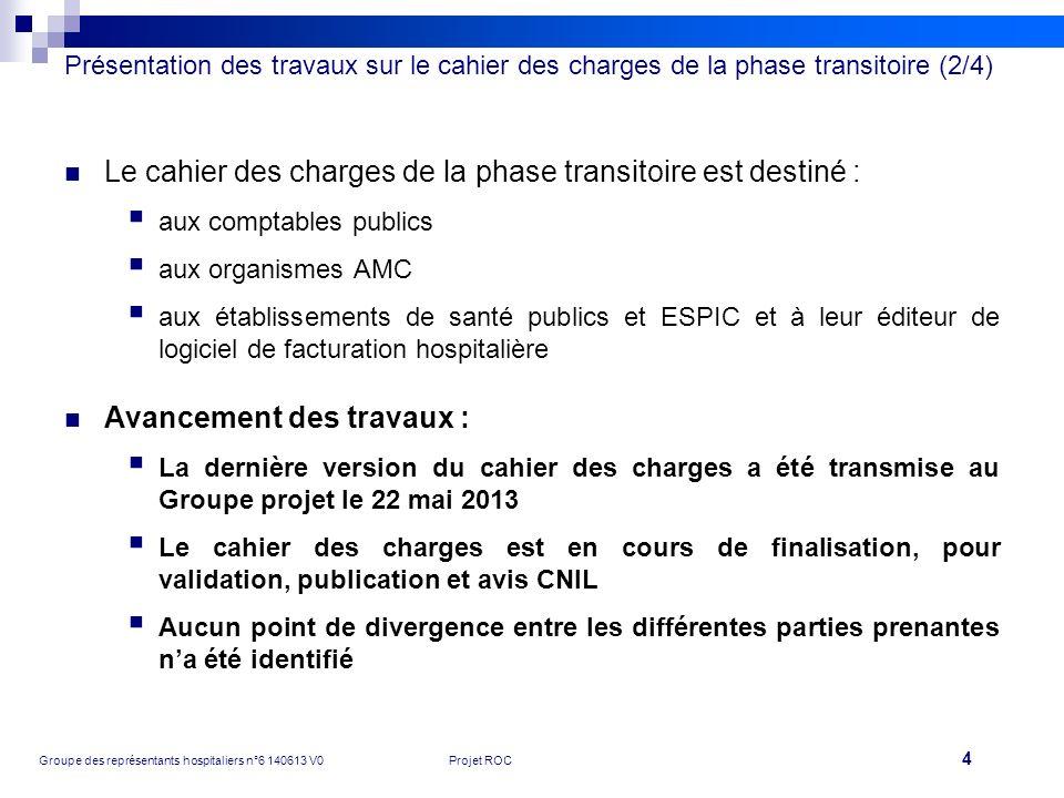 Le cahier des charges de la phase transitoire est destiné :