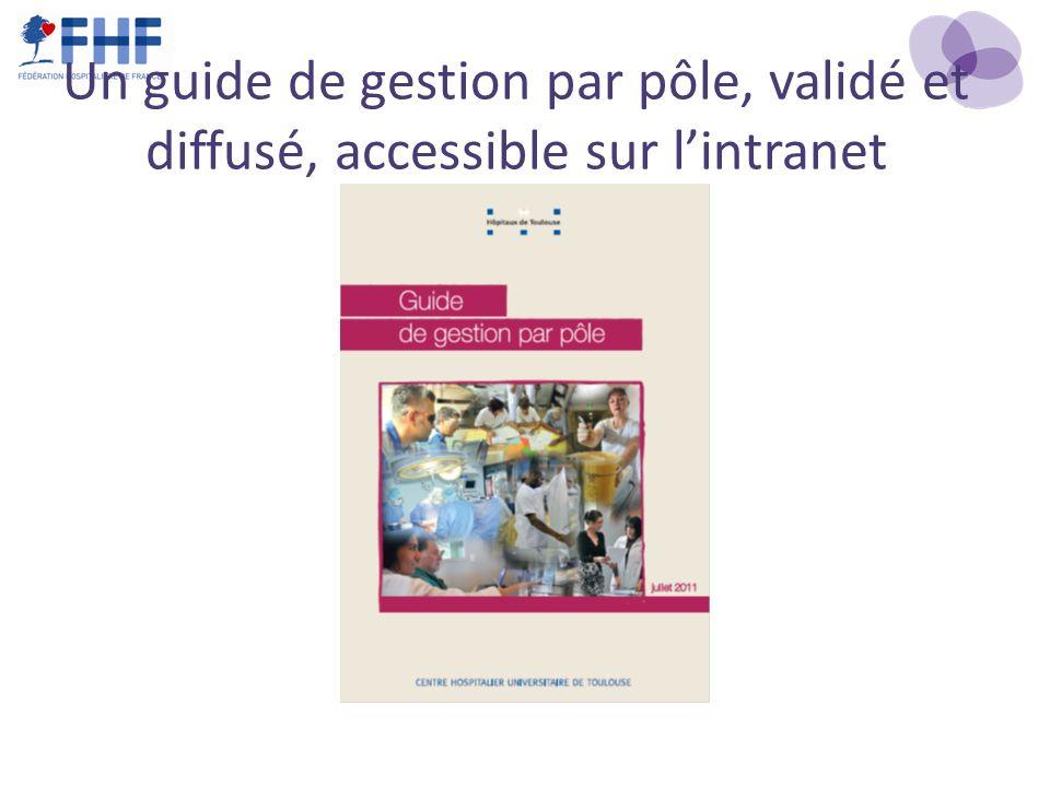 Un guide de gestion par pôle, validé et diffusé, accessible sur l'intranet