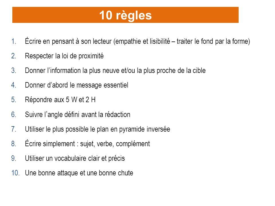 10 règles Écrire en pensant à son lecteur (empathie et lisibilité – traiter le fond par la forme) Respecter la loi de proximité.