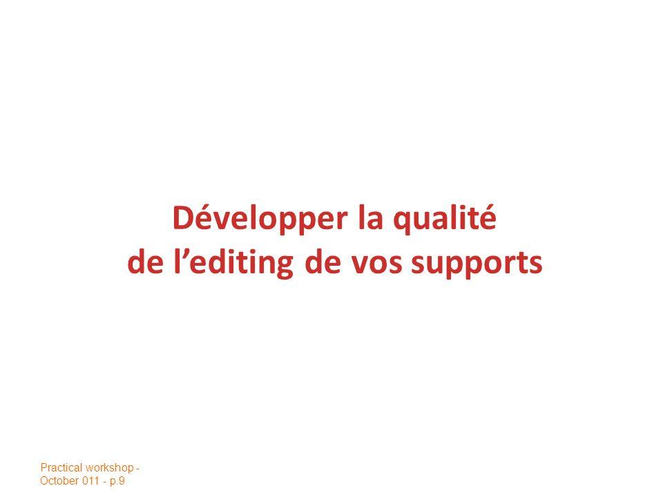 Développer la qualité de l'editing de vos supports