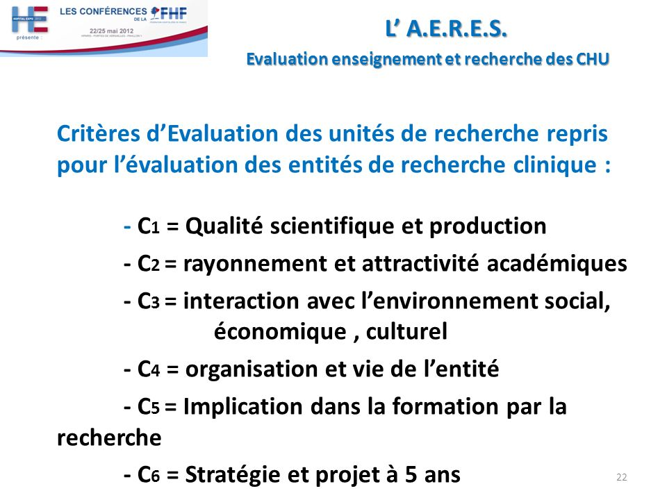 - C1 = Qualité scientifique et production