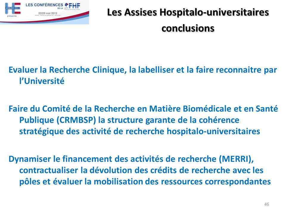 Les Assises Hospitalo-universitaires conclusions
