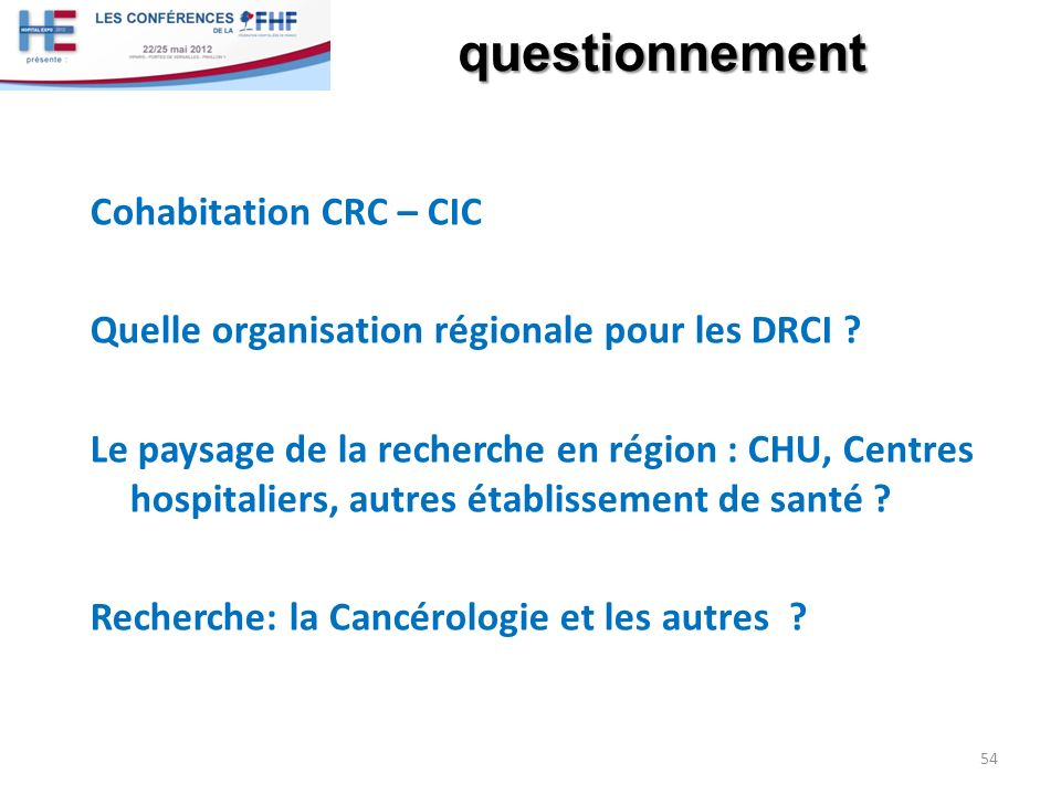 questionnement Cohabitation CRC – CIC