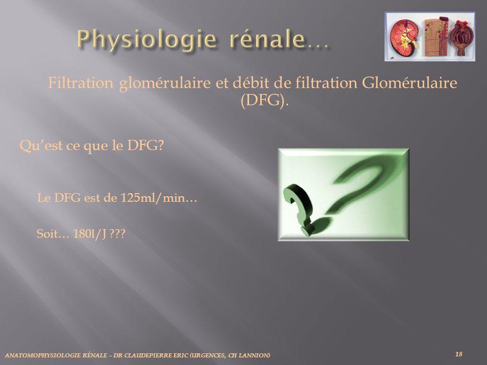 Filtration glomérulaire et débit de filtration Glomérulaire (DFG).
