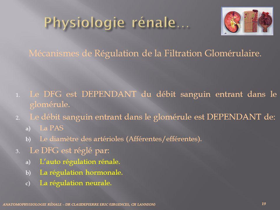 Mécanismes de Régulation de la Filtration Glomérulaire.
