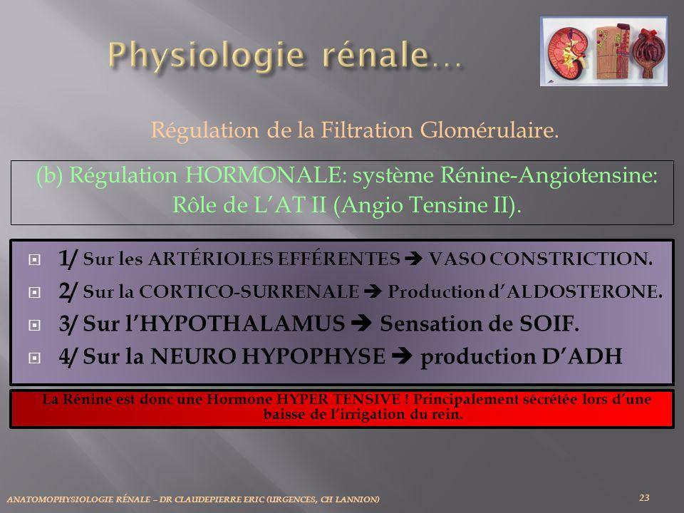 Régulation de la Filtration Glomérulaire.