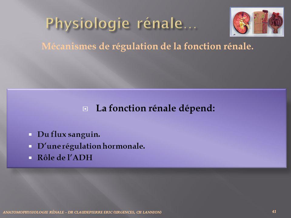 Physiologie rénale… Mécanismes de régulation de la fonction rénale.