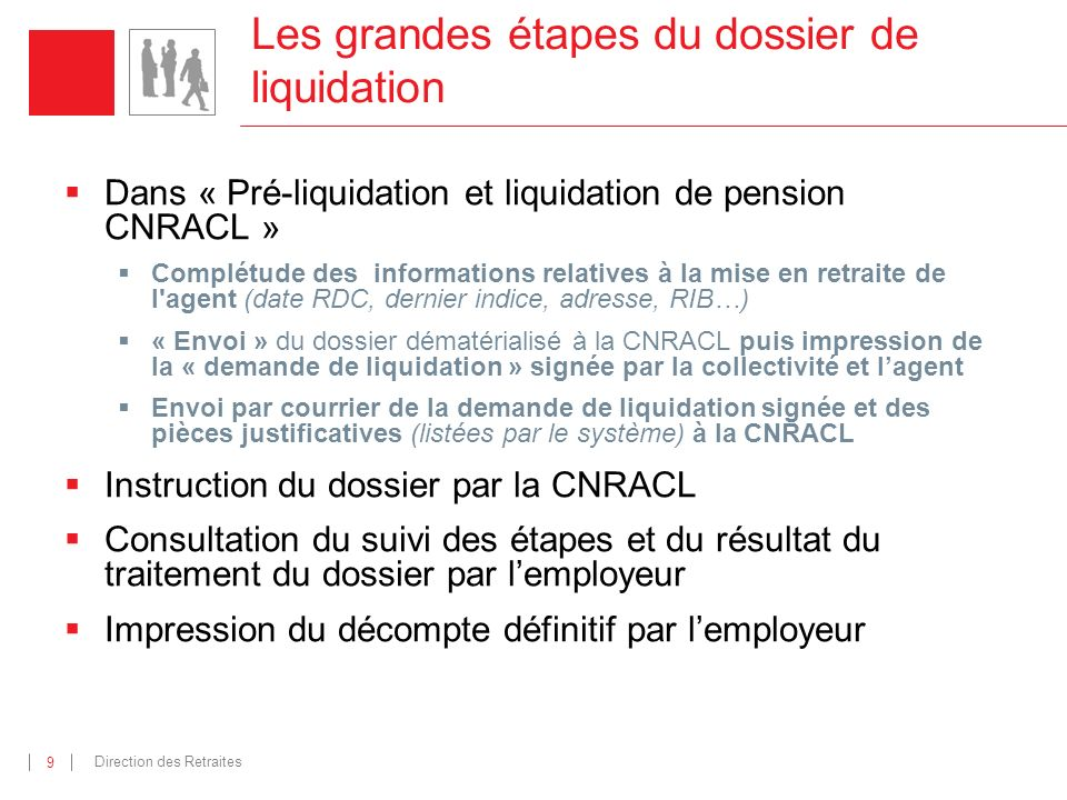 Les grandes étapes du dossier de liquidation
