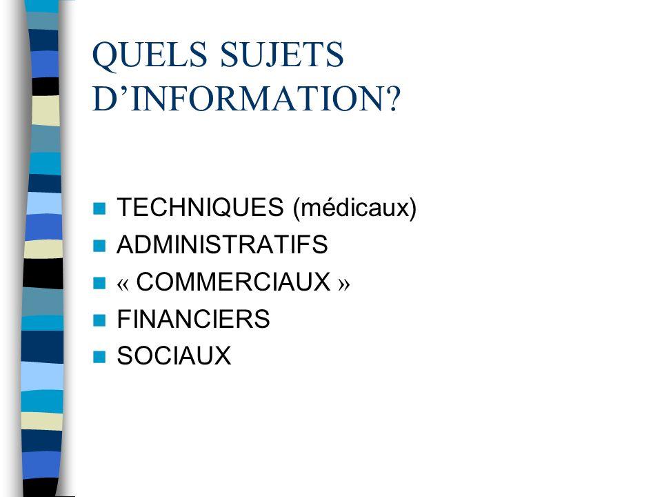 QUELS SUJETS D'INFORMATION