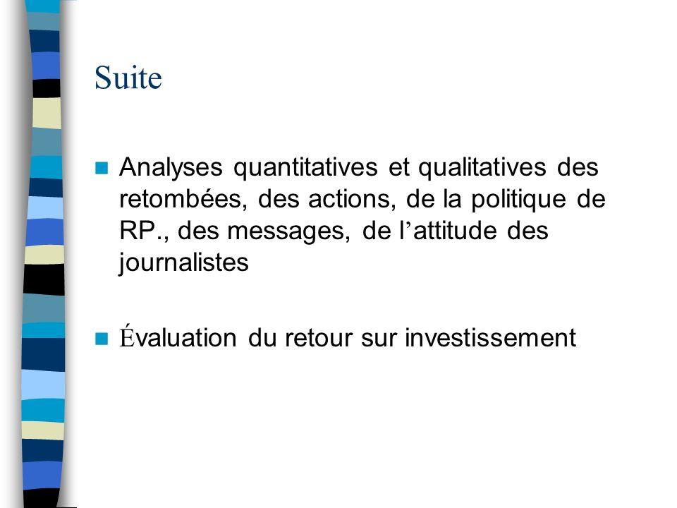 Suite Analyses quantitatives et qualitatives des retombées, des actions, de la politique de RP., des messages, de l'attitude des journalistes.