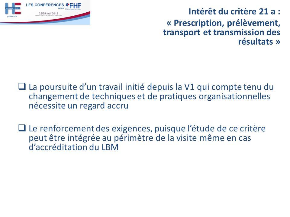 Intérêt du critère 21 a : « Prescription, prélèvement, transport et transmission des résultats »