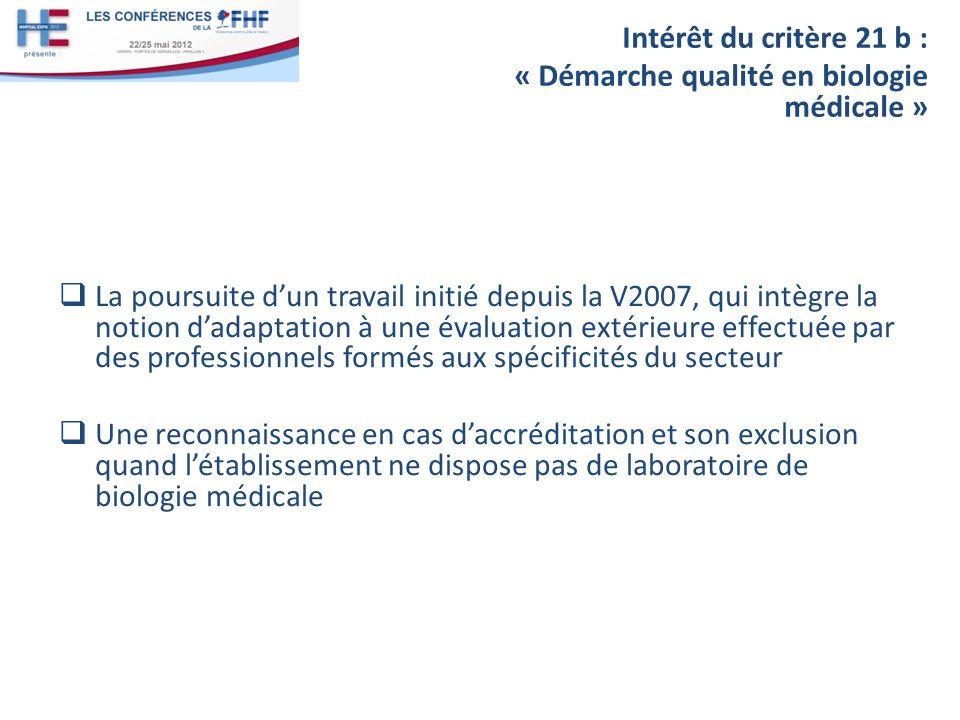 Intérêt du critère 21 b : « Démarche qualité en biologie médicale »