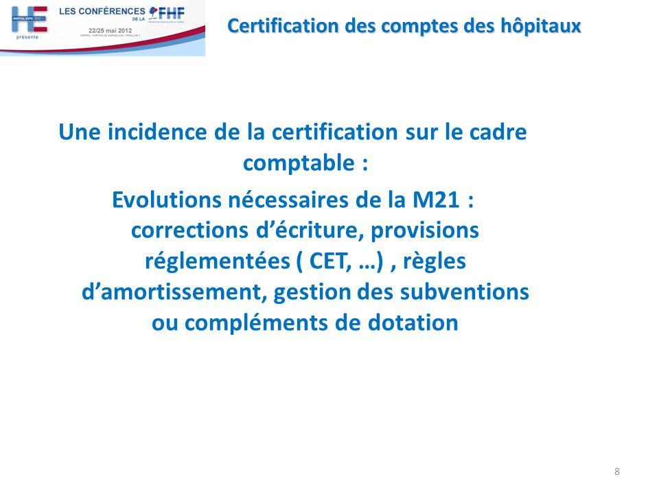 Une incidence de la certification sur le cadre comptable :