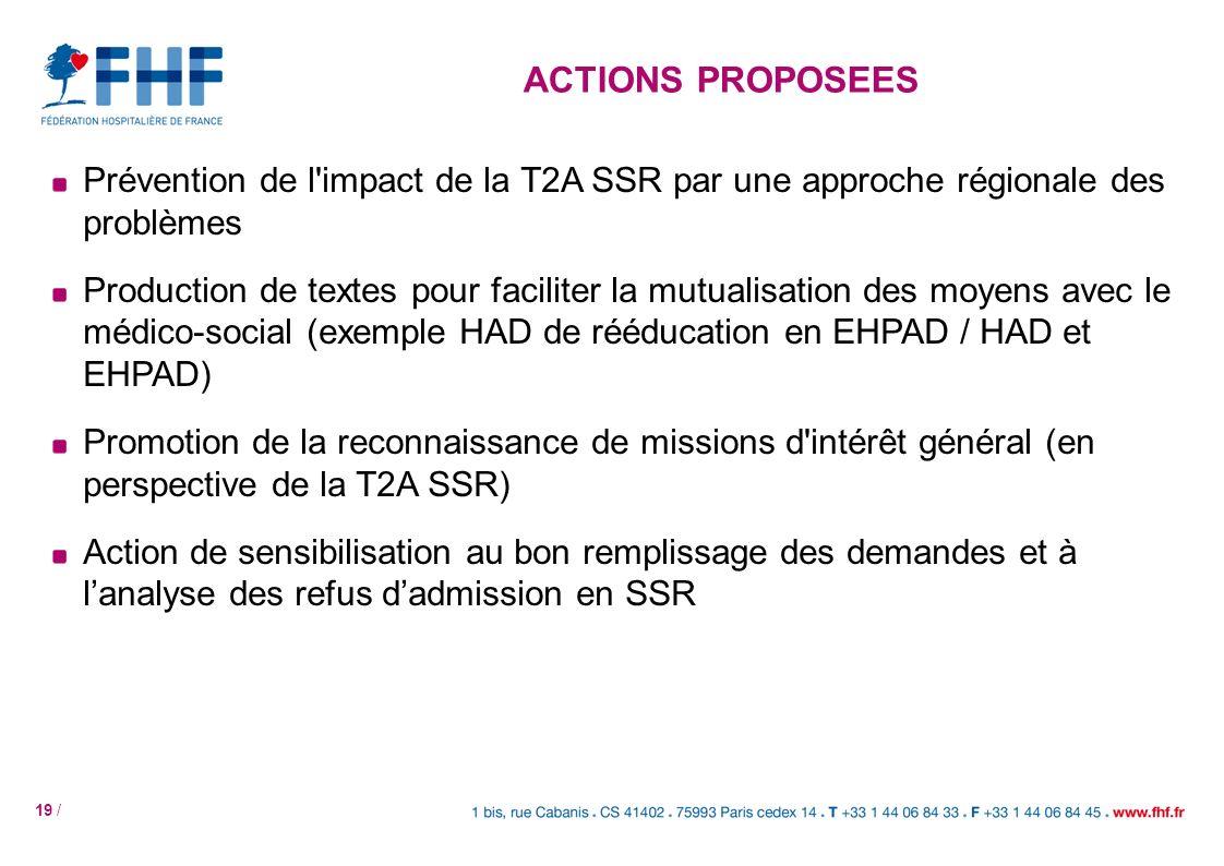 ACTIONS PROPOSEES Prévention de l impact de la T2A SSR par une approche régionale des problèmes.
