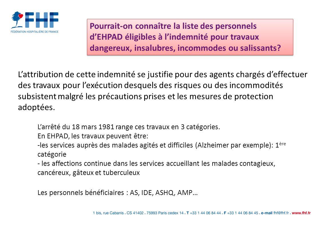 Pourrait-on connaître la liste des personnels d'EHPAD éligibles à l'indemnité pour travaux dangereux, insalubres, incommodes ou salissants