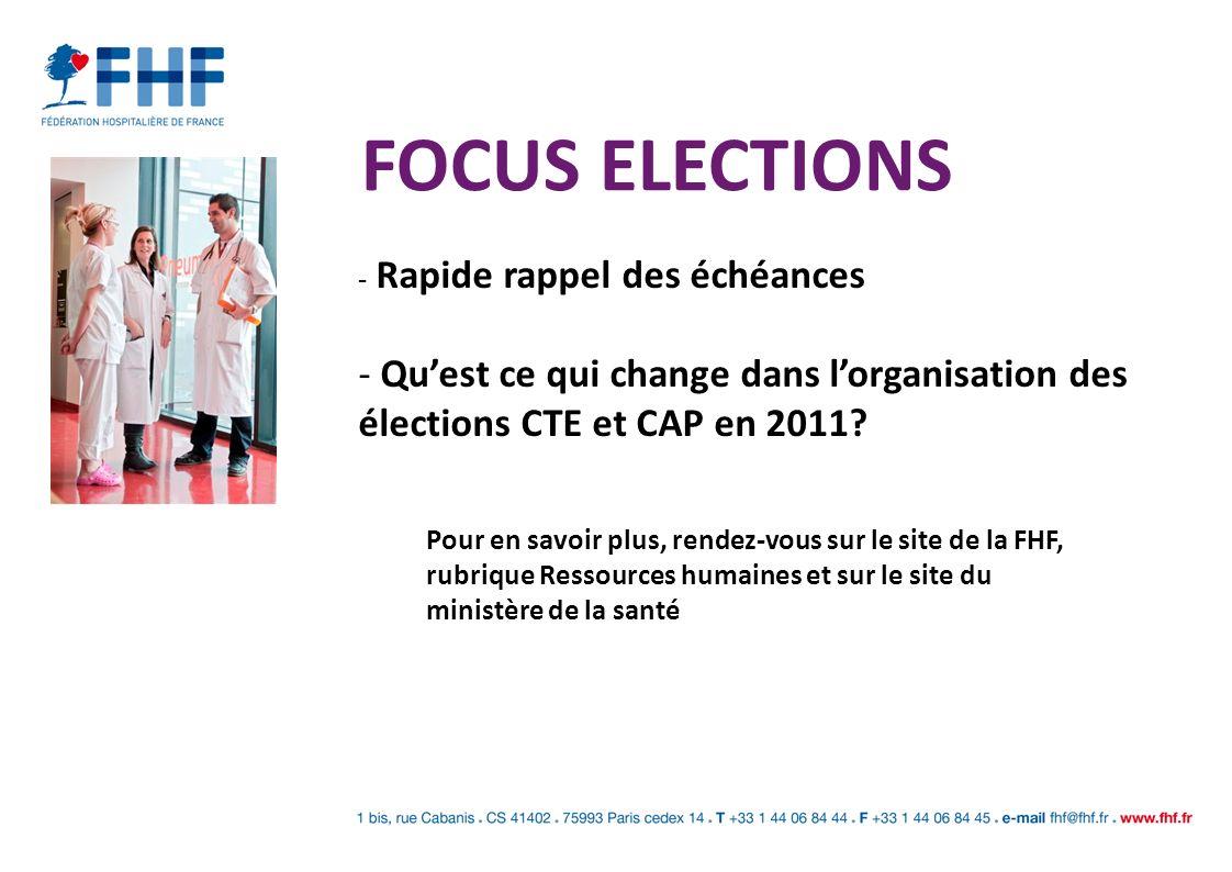FOCUS ELECTIONS Rapide rappel des échéances. Qu'est ce qui change dans l'organisation des élections CTE et CAP en 2011