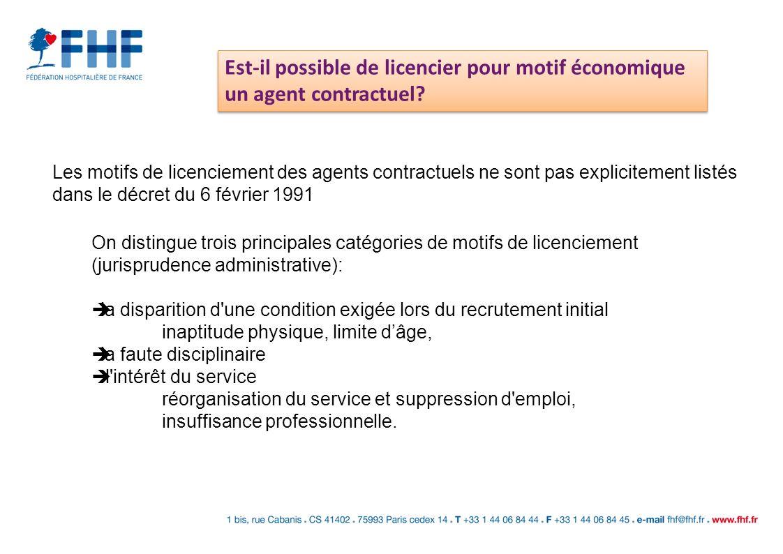 Est-il possible de licencier pour motif économique un agent contractuel