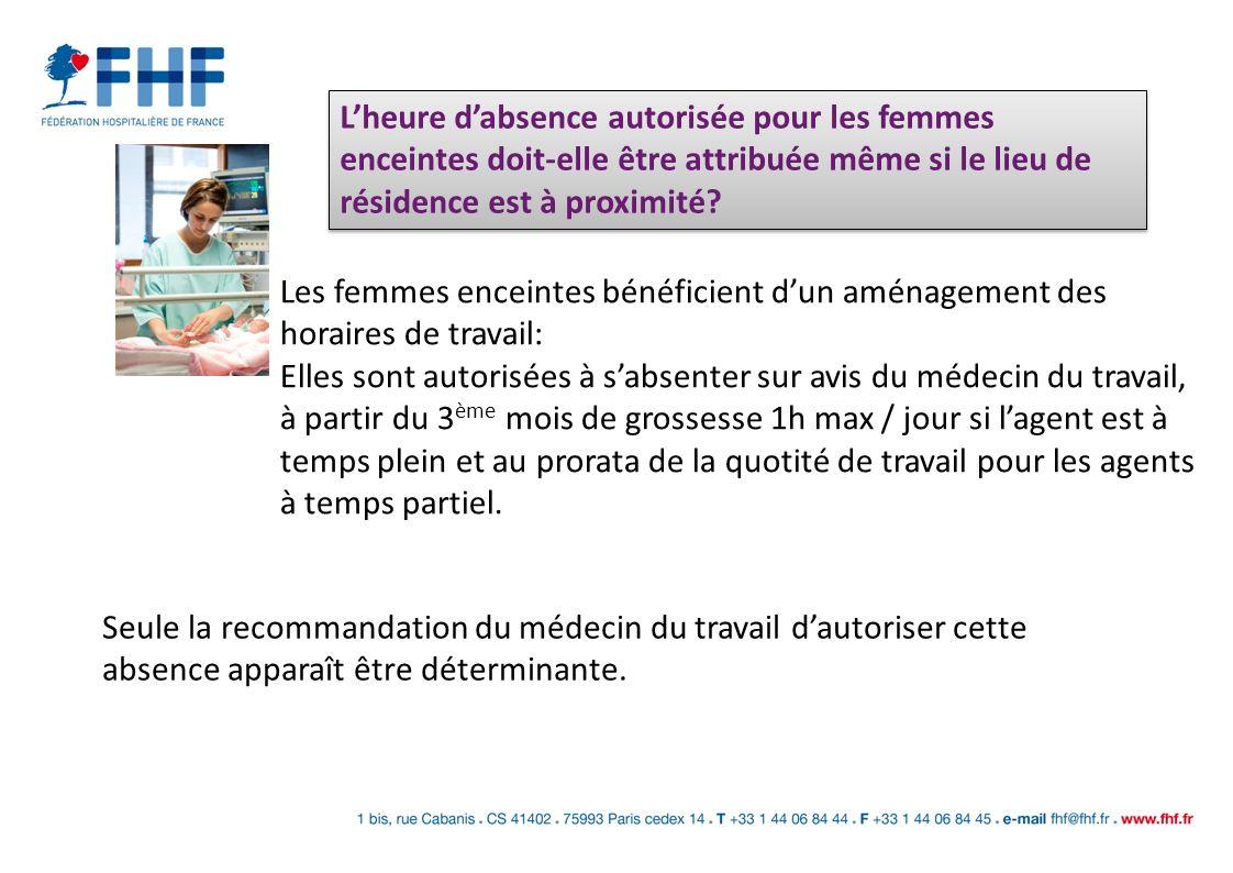 L'heure d'absence autorisée pour les femmes enceintes doit-elle être attribuée même si le lieu de résidence est à proximité