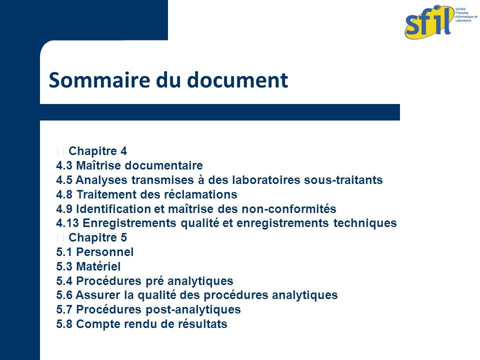 Sommaire du document  Chapitre 4 4.3 Maîtrise documentaire
