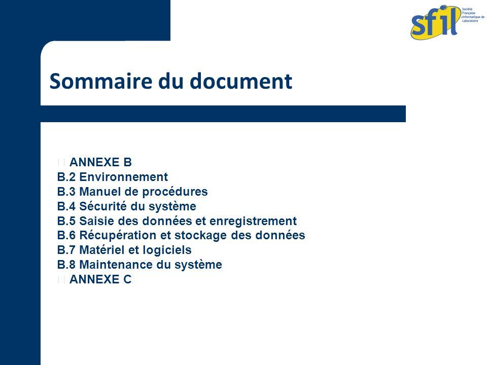 Sommaire du document  ANNEXE B B.2 Environnement