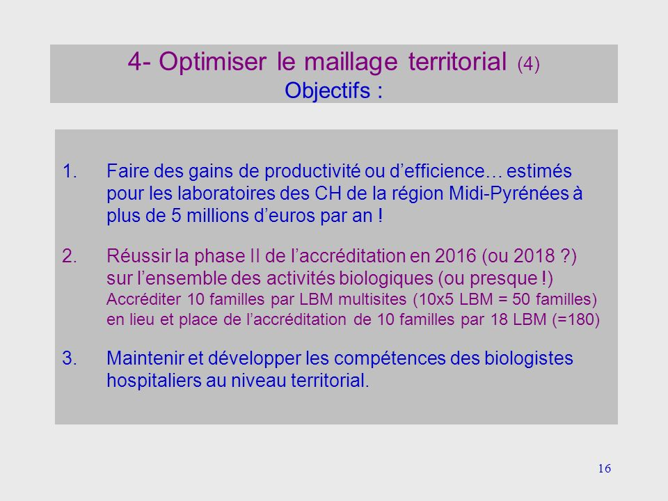 4- Optimiser le maillage territorial (4) Objectifs :