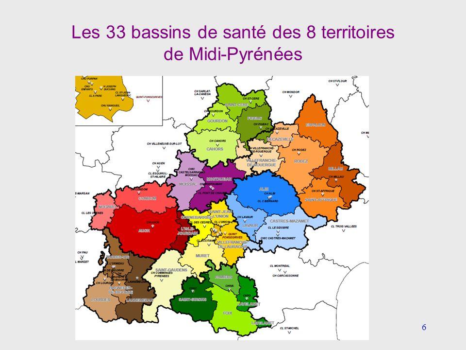 Les 33 bassins de santé des 8 territoires de Midi-Pyrénées