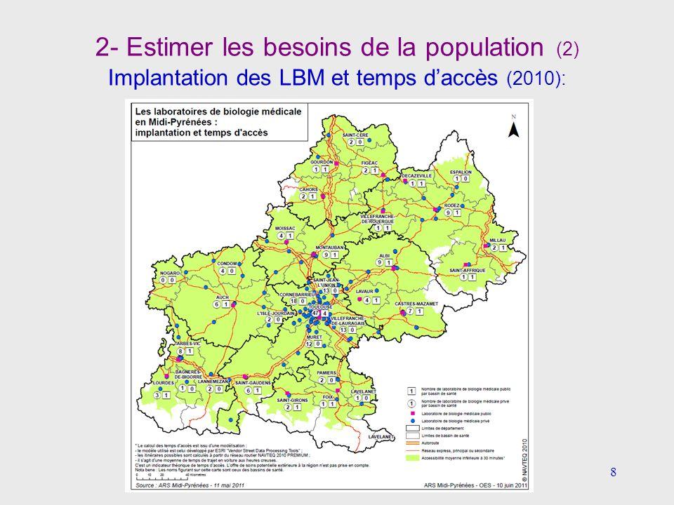 2- Estimer les besoins de la population (2) Implantation des LBM et temps d'accès (2010):