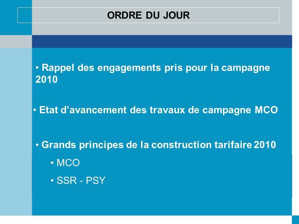Rappel des engagements pris pour la campagne 2010