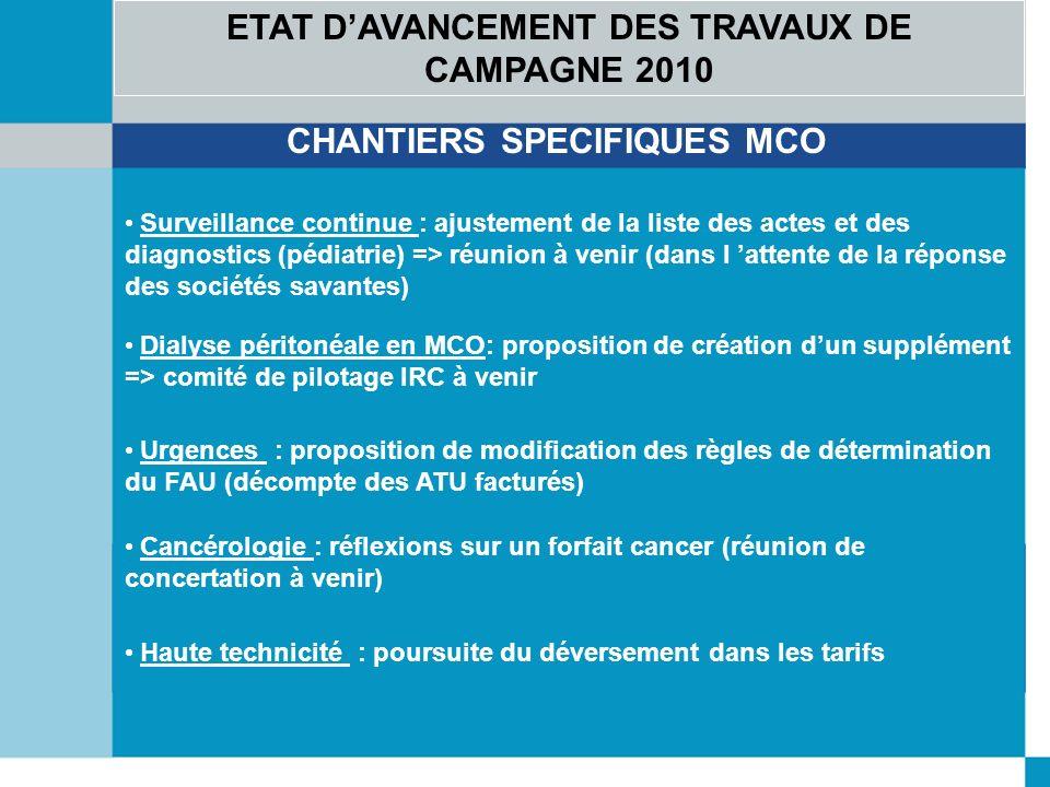 ETAT D'AVANCEMENT DES TRAVAUX DE CAMPAGNE 2010