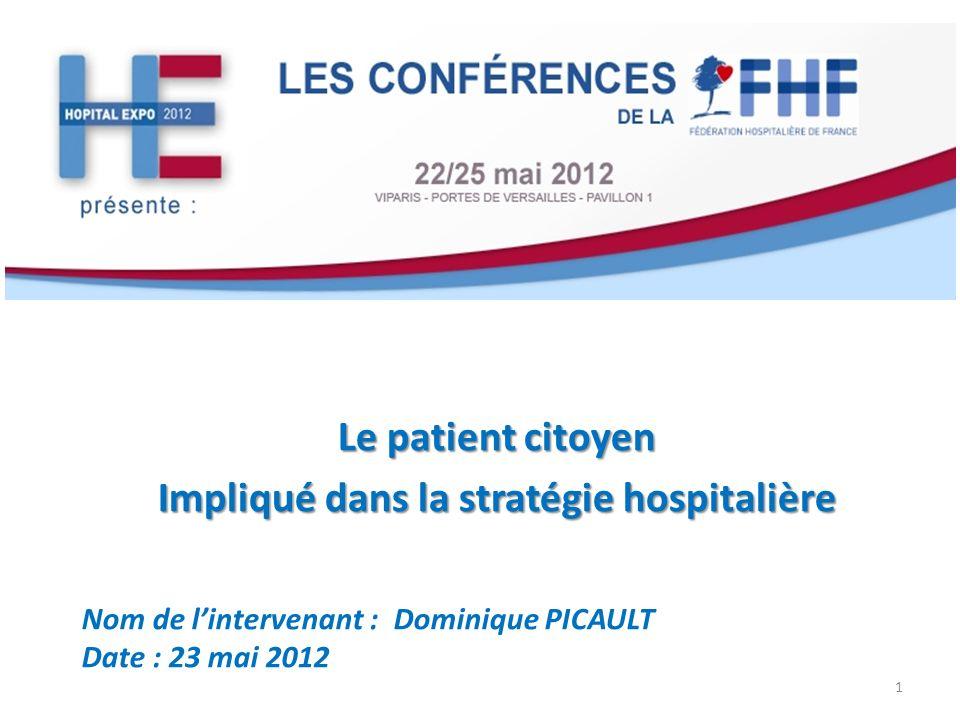 Le patient citoyen Impliqué dans la stratégie hospitalière