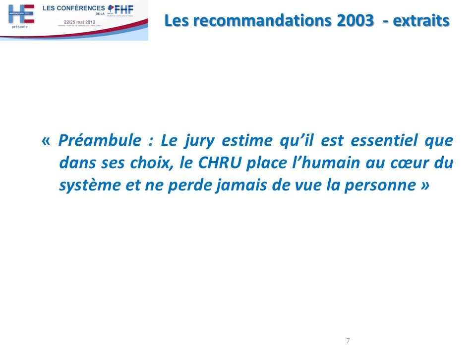 Les recommandations 2003 - extraits