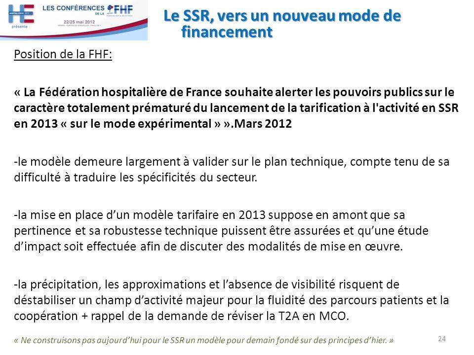 Le SSR, vers un nouveau mode de financement Position de la FHF: