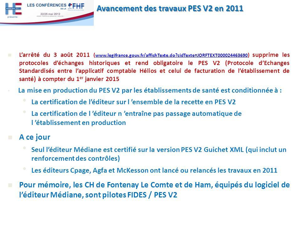 Avancement des travaux PES V2 en 2011