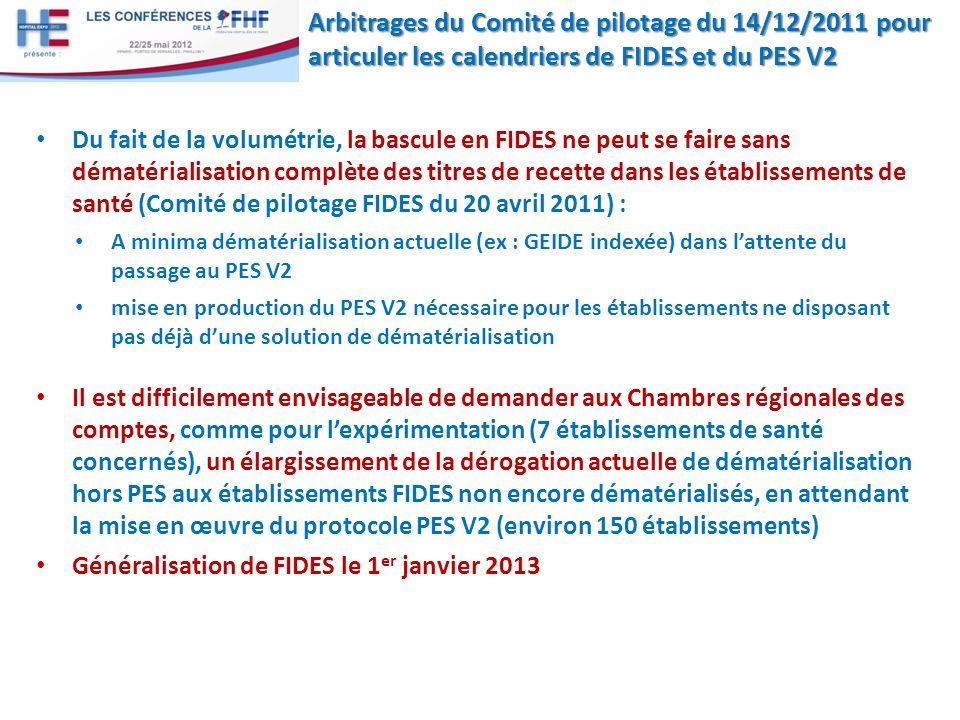 Arbitrages du Comité de pilotage du 14/12/2011 pour articuler les calendriers de FIDES et du PES V2