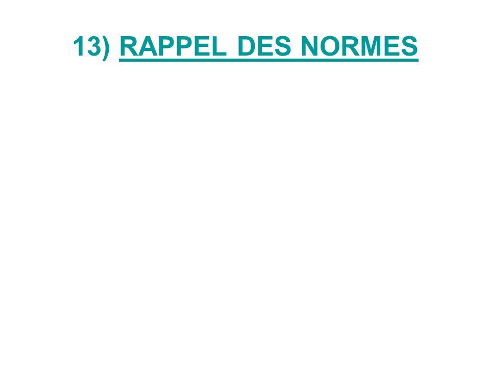 13) RAPPEL DES NORMES