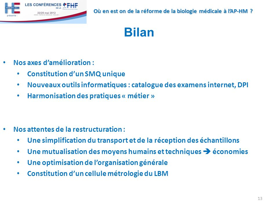 Bilan Nos axes d'amélioration : Constitution d'un SMQ unique