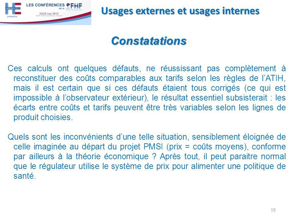 Constatations Usages externes et usages internes