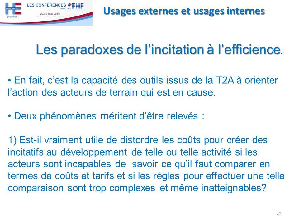 Les paradoxes de l'incitation à l'efficience.