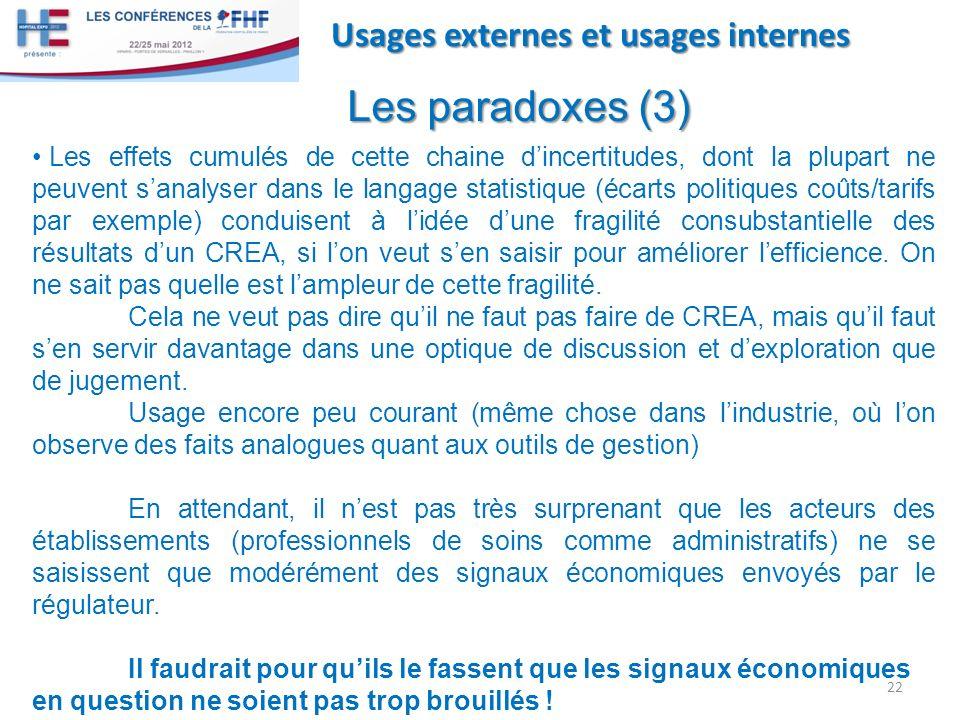 Les paradoxes (3) Usages externes et usages internes