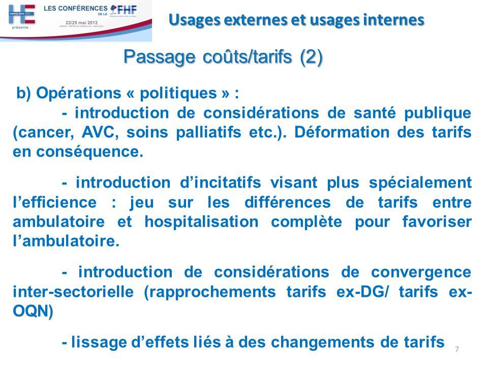 Passage coûts/tarifs (2)