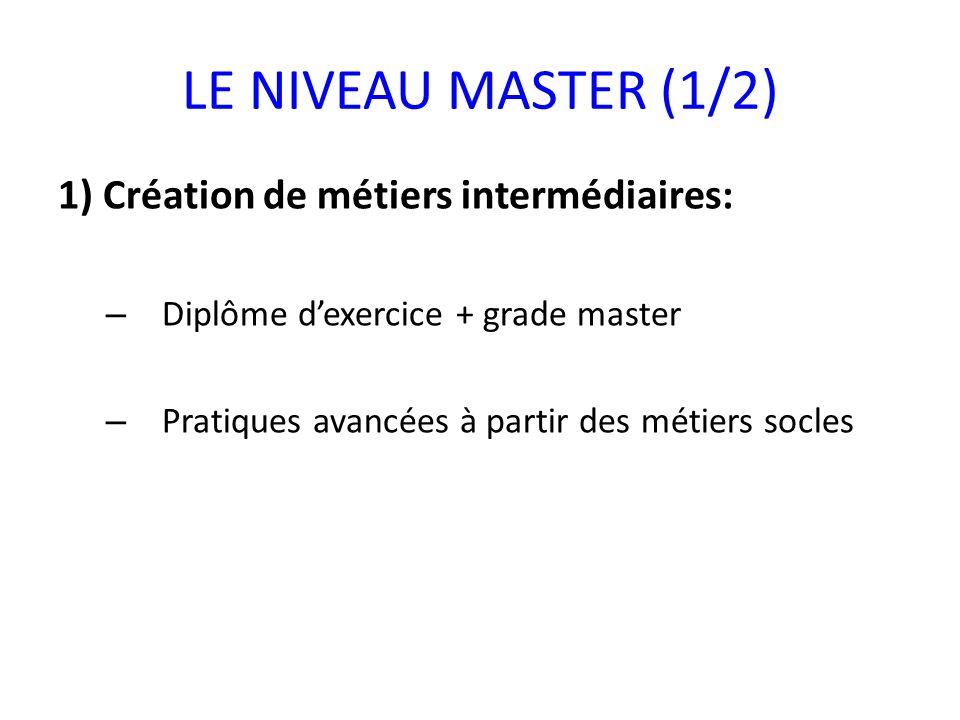 LE NIVEAU MASTER (1/2) 1) Création de métiers intermédiaires: