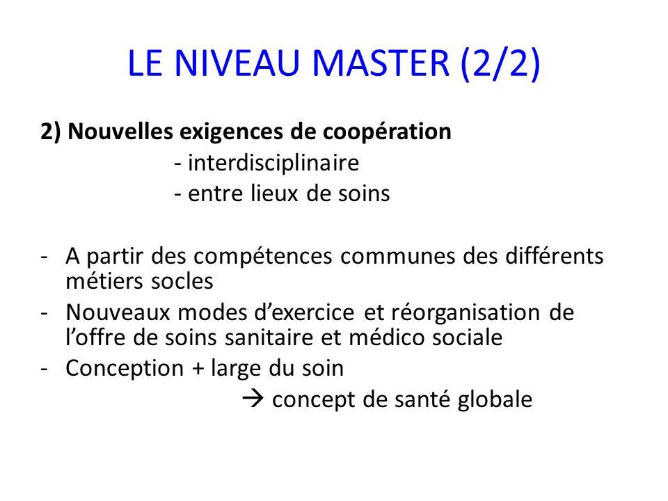 LE NIVEAU MASTER (2/2) 2) Nouvelles exigences de coopération