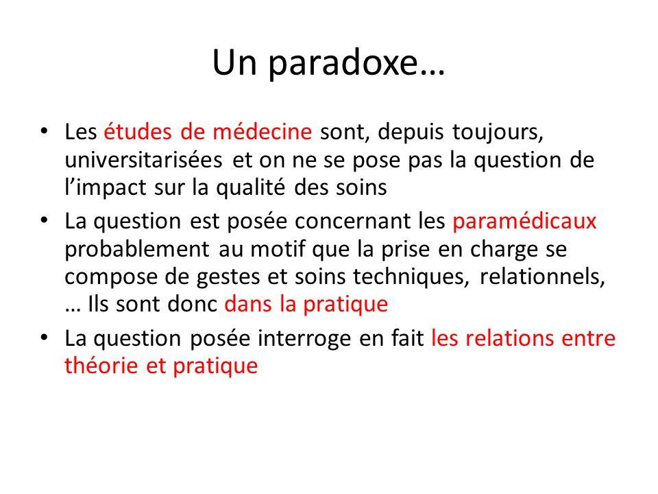 Un paradoxe… Les études de médecine sont, depuis toujours, universitarisées et on ne se pose pas la question de l'impact sur la qualité des soins.