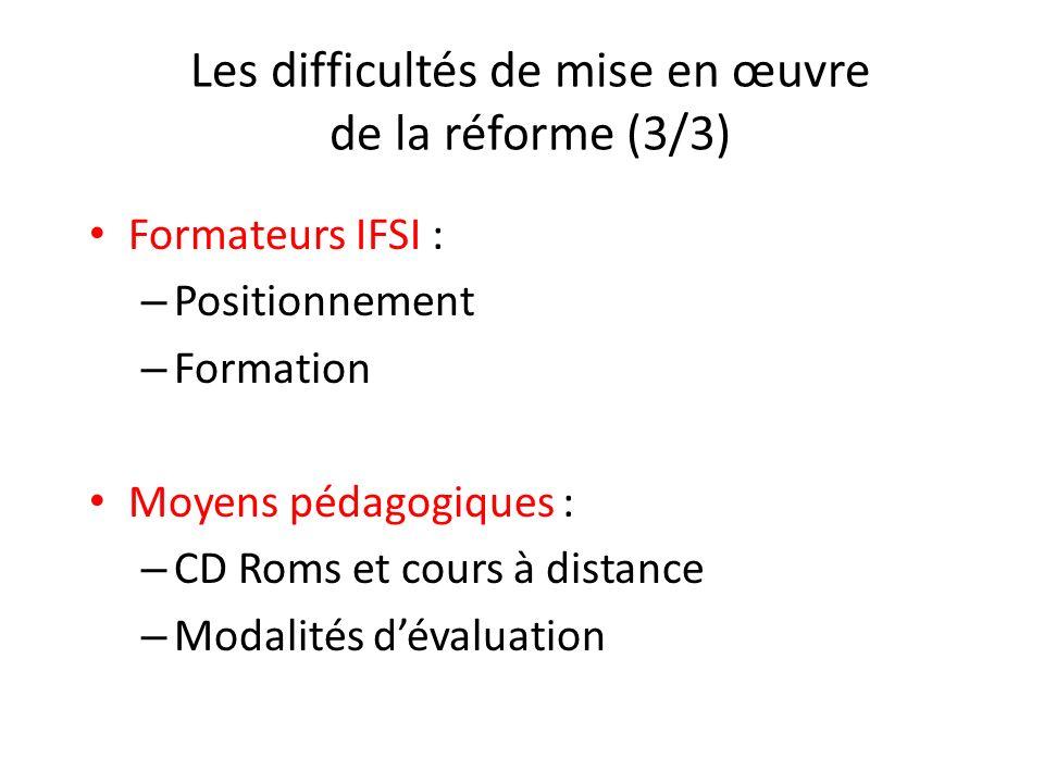 Les difficultés de mise en œuvre de la réforme (3/3)