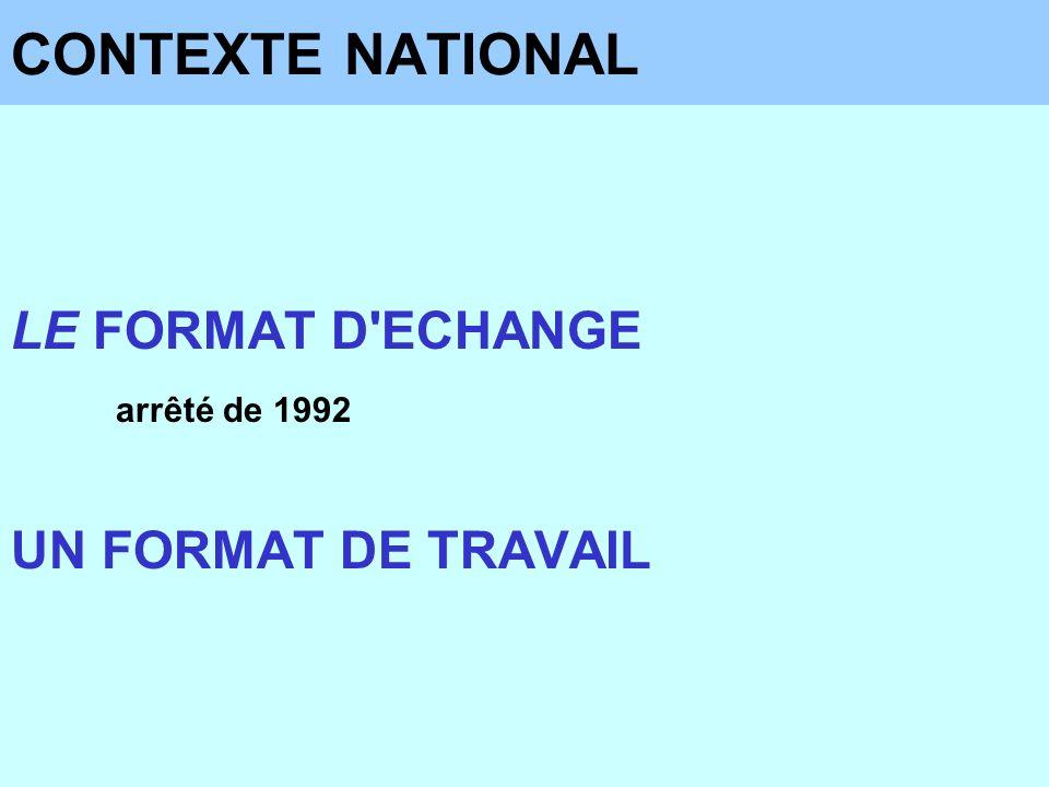 CONTEXTE NATIONAL LE FORMAT D ECHANGE UN FORMAT DE TRAVAIL