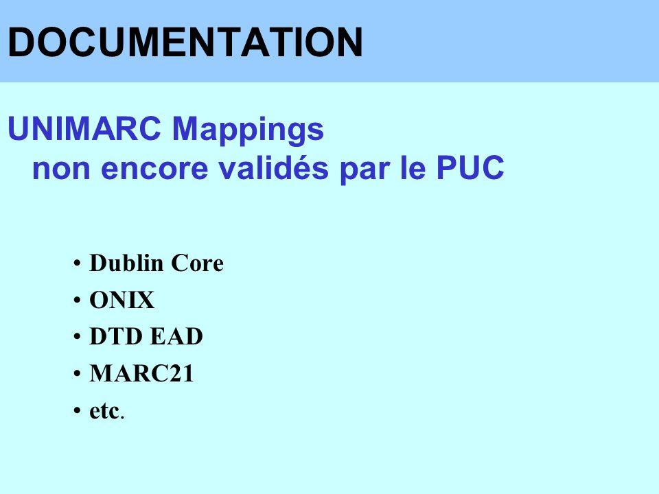 DOCUMENTATION UNIMARC Mappings non encore validés par le PUC