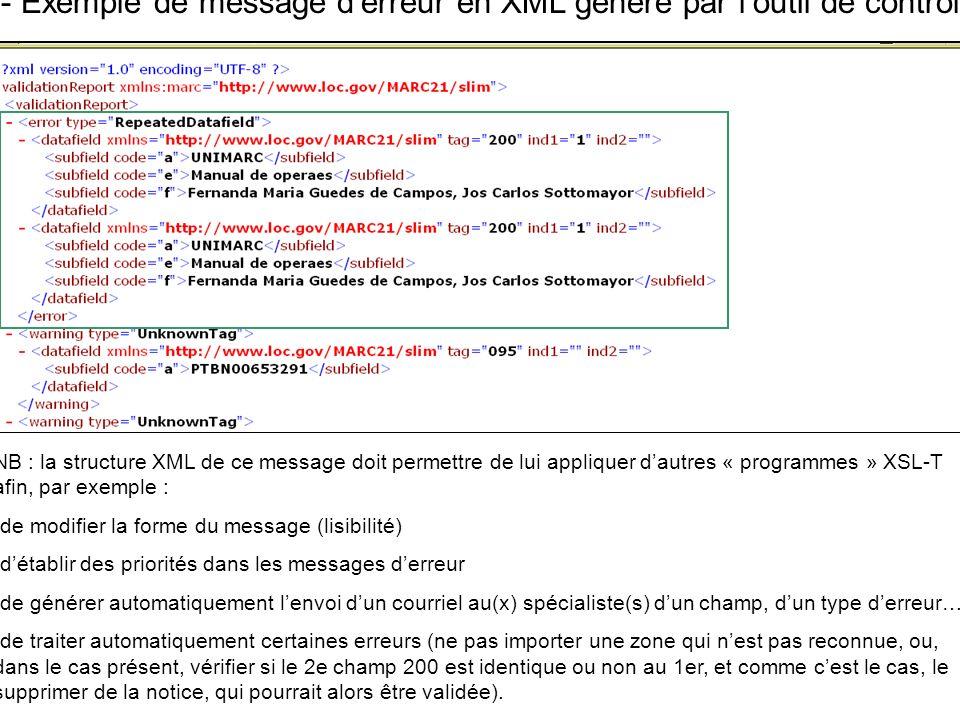 D- Exemple de message d'erreur en XML généré par l'outil de contrôle