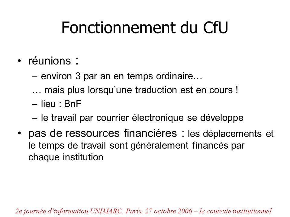 Fonctionnement du CfU réunions :